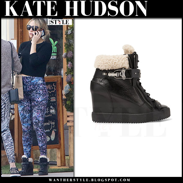 Kate Hudson in black shearling trimmed wedge sneakers giuseppe zanotti and print leggings what she wore