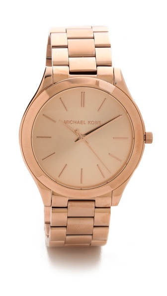 MK rose gold watch slim runway watch