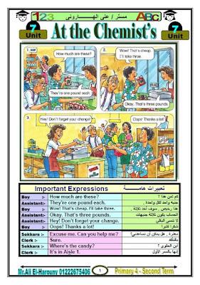 مذكرة انجليزي للصف الرابع الابتدائي الترم الثاني 2017