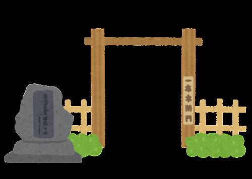 一本木関門のイラスト(石碑あり)