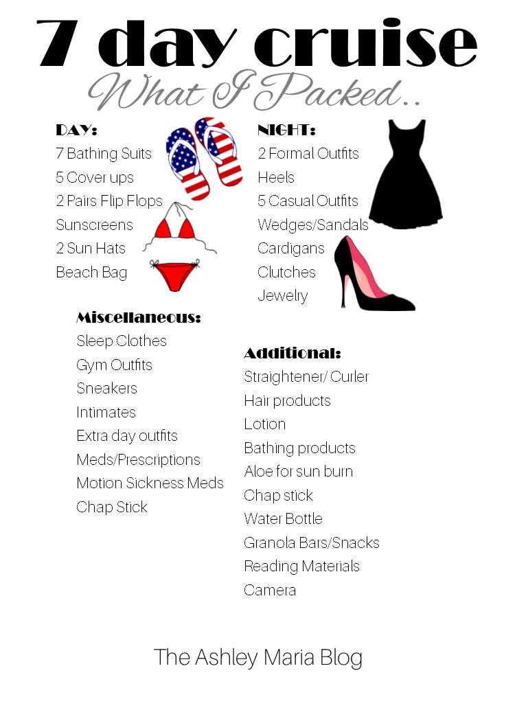 The Ashley Maria Blog: What To Pack For A 7 Night Cruise