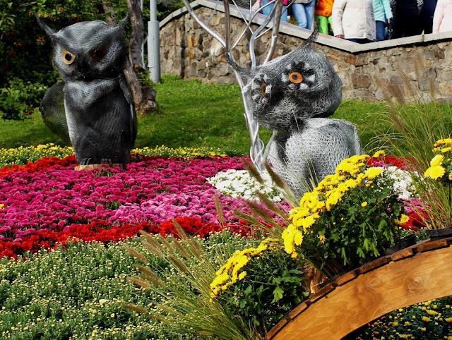 Фрагмент цветочной инсталляции - Совы