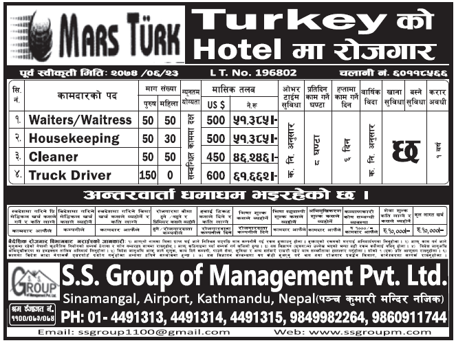 Jobs in Turkey for Nepali, Salary Rs 61,662