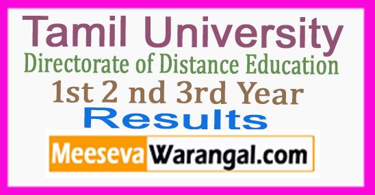 Tamil University DDE 1st 2nd 3rd Year BA BSc BCA BLIS MA MSc MBA MLIS Result