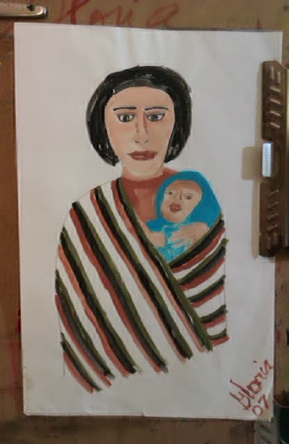 """Mexican mother and infant"" sketch by Gloria Poole, yr 2007"
