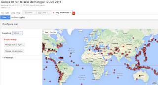 Peta titik gempa 30 hari terakhir dari tanggal 12 Juni 2016