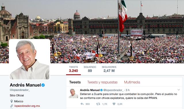 Detención de Duarte es 'simulación': AMLO
