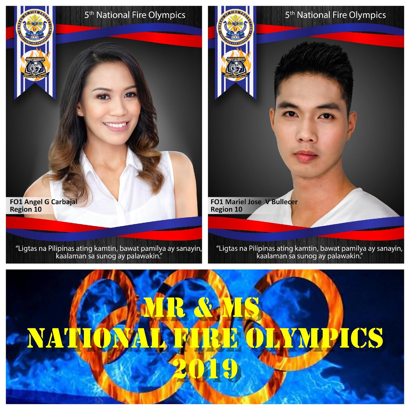 BFP Region 10 Representatives for the Mr & Ms National Fire Olympics 2019