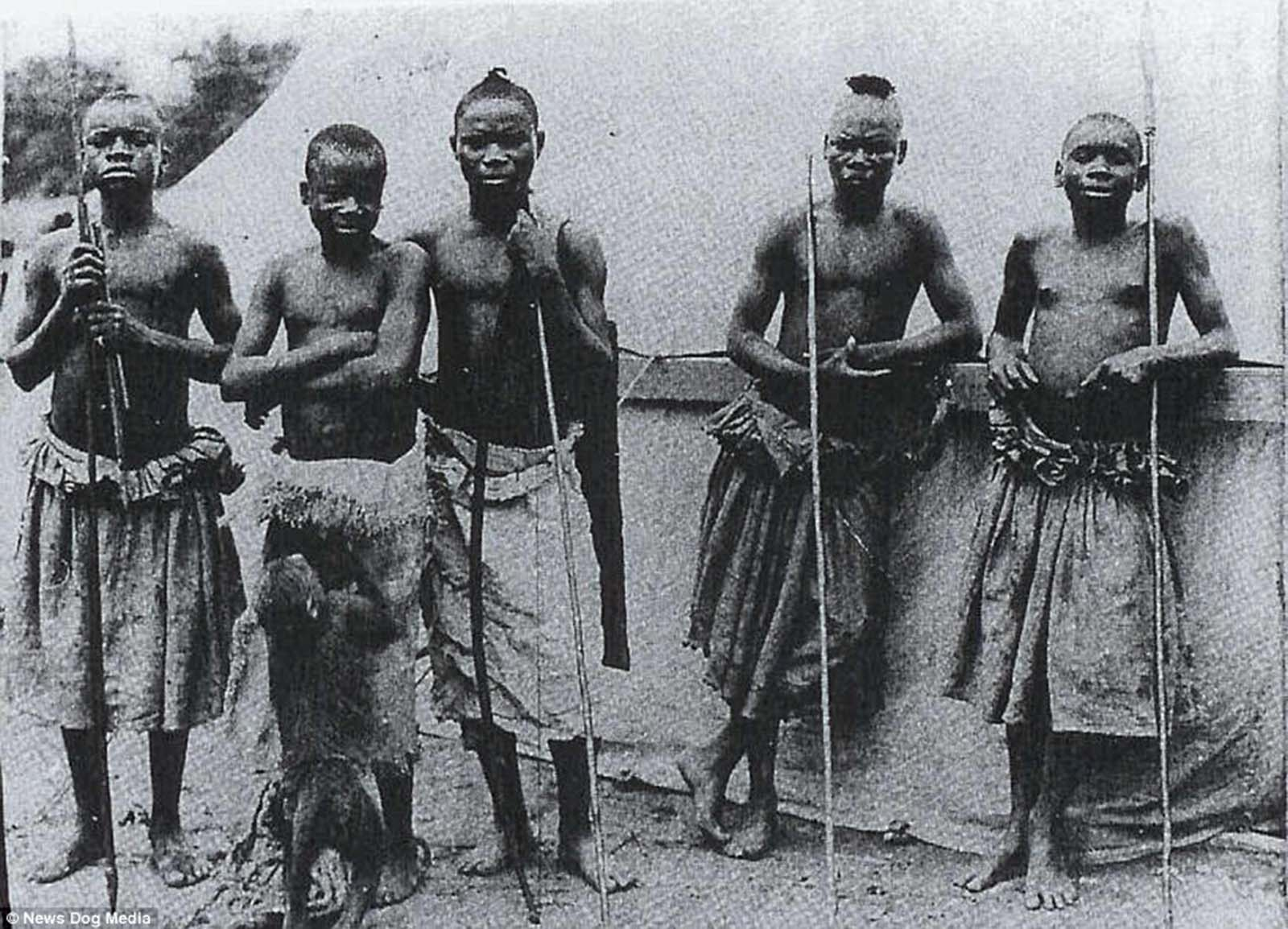 The dreadful treatment of Ota Benga (second from left), a Congolese man 'exhibited' in New York's Bronx Zoo in 1906, sparked outrage and he was eventually released. But six years later he tragically took his own life after being unable to assimilate into American life.