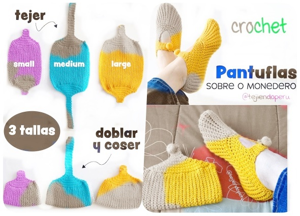 pantuflas, zapatillas crochet, zapatillas monedero, ganchillo