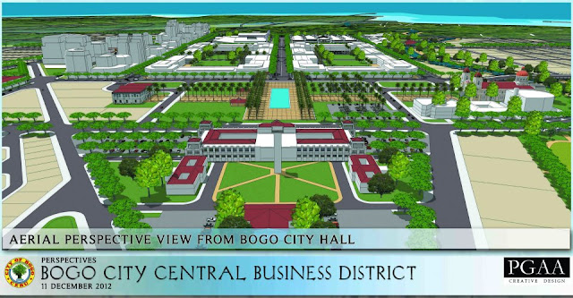 Aerial perspective of the New Bogo City Central Business District. From New Bogo City Hall side.