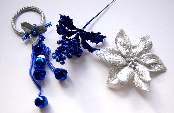Blue door bells, blue pick and silver flower from Dollar Tree and Hobby Lobby