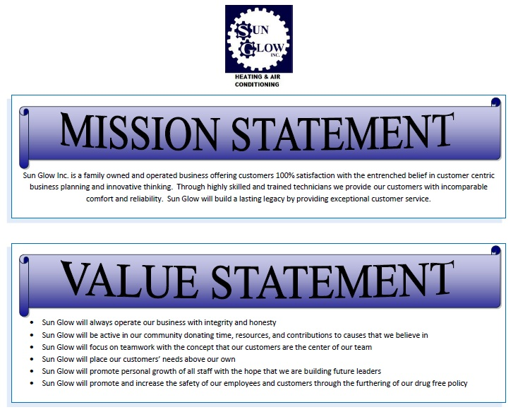 Sun glow inc january 2012 for Values statement template