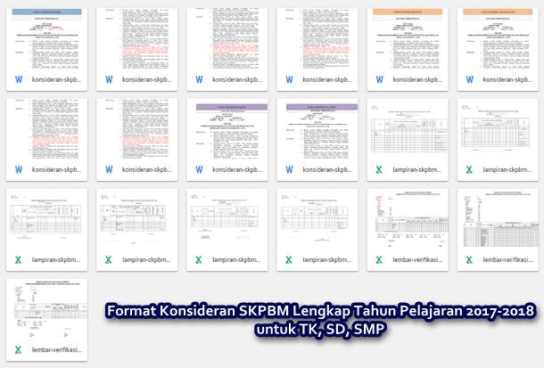 Format Konsideran SKPBM Lengkap Tahun Pelajaran 2017-2018 untuk TK, SD, SMP
