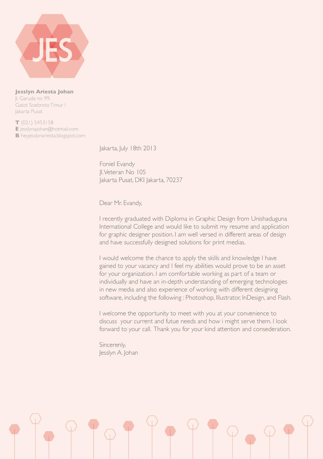 Hey I'm Jesslyn Cover Letter CV Resume & Reference Letter