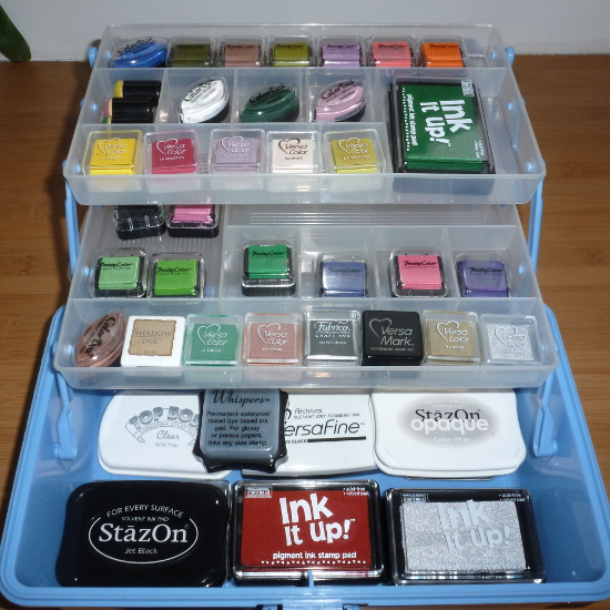 Supply of rubber stamping inks different ink types for this paper craft organized in tray