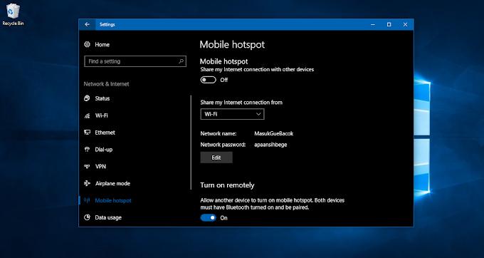 Cara Berbagi Koneksi Internet Menggunakan Fitur Mobile Hotspot di Windows 10