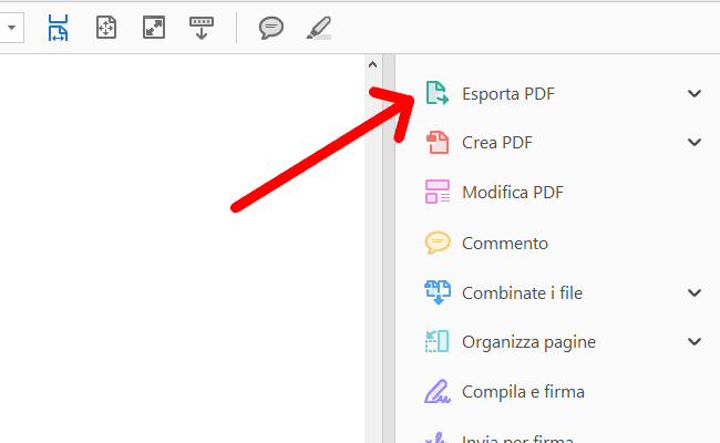 Esportare PDF da Acrobat