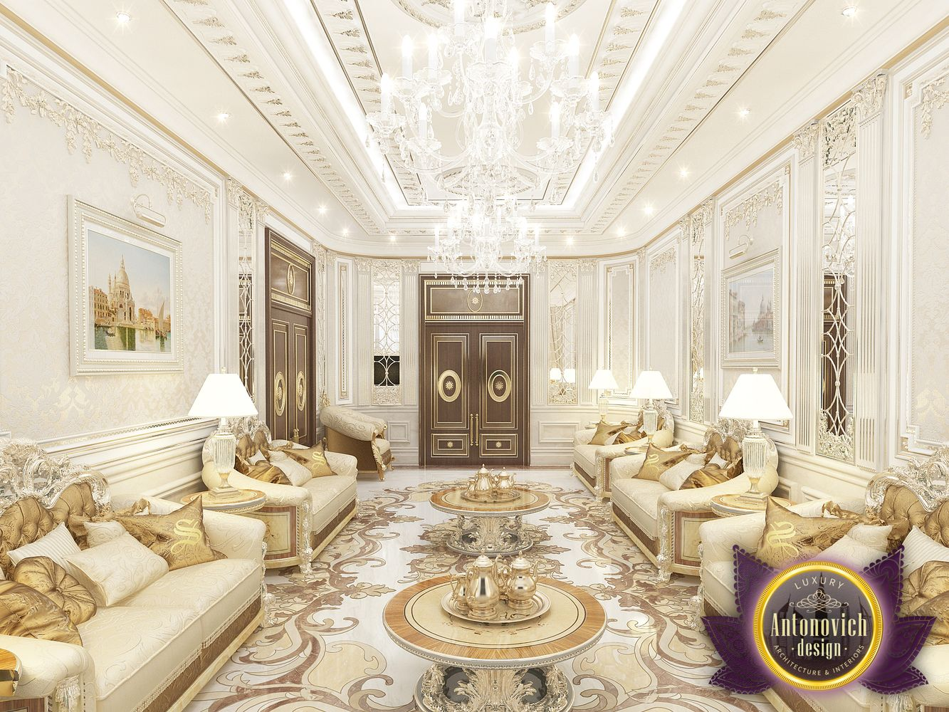 Luxury antonovich design uae living room interior design for Top luxury interior designers