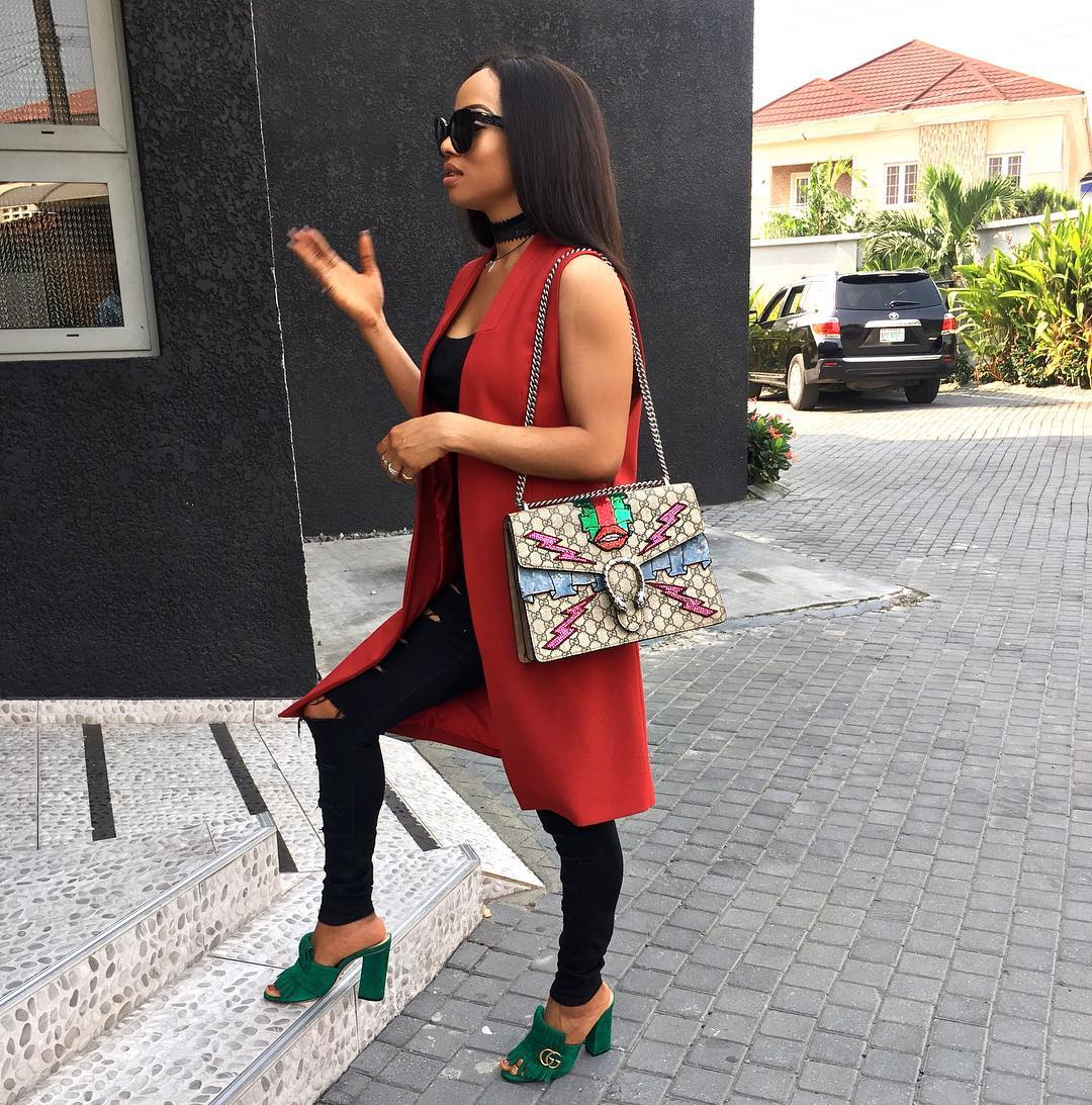 a9759fc81f68 Toke Makinwa is seen wearing a Gucci Marmont fringed suede mules which is a fresh  take on ...