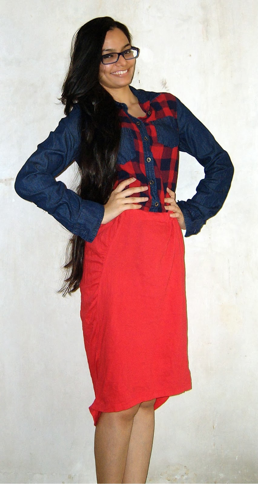 tartan shirt, red skirt, street shopping, colaba causeway shopping, what to buy at colaba causeway, streetstyle mumbai