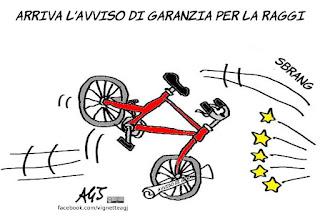 avviso di garanzia, raggi, roma, marra, vignetta, satira