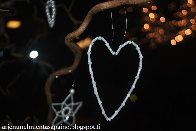 helmityö, kuusenkoriste, sydän