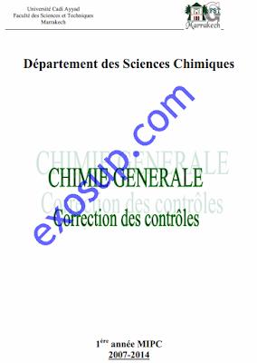 controles corrigés chimie générale MIPC FSTG atomistique réaction chimique chimie en solution