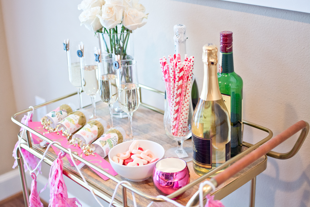 valentines day party, galentines, styling a bar cart, home decor, how i asked my bridesmaids, wedding, bar cart inspiration, galentines party inspiration, entertaining