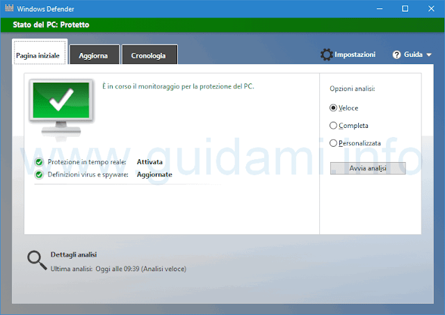 Windows Defender Pagina iniziale