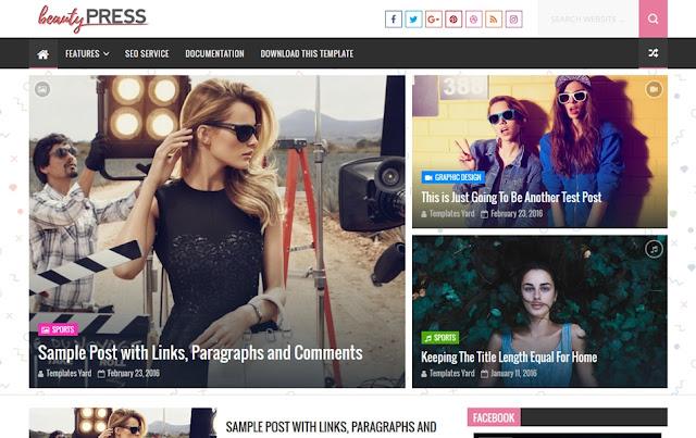 BeautyPress Stylish Blogger Template