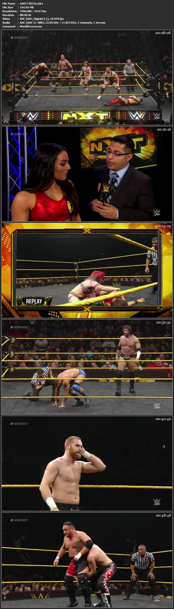 Screen Shot Of WWE NXT 17th February 2016 WebDL 480P 200MB