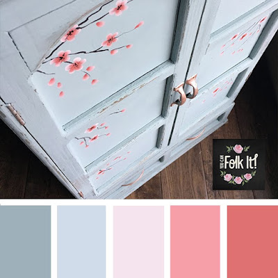 Cherry blossom inspired colour palette - perfect for a spot of upcycling