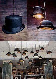 lamparas hechas con sombreros viejos