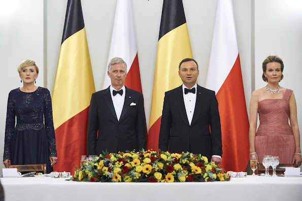 First Lady Agata Kornhauser-Duda and King Philippe of Belgium and Polish President Andrzej Duda and Queen Mathilde of Belgium