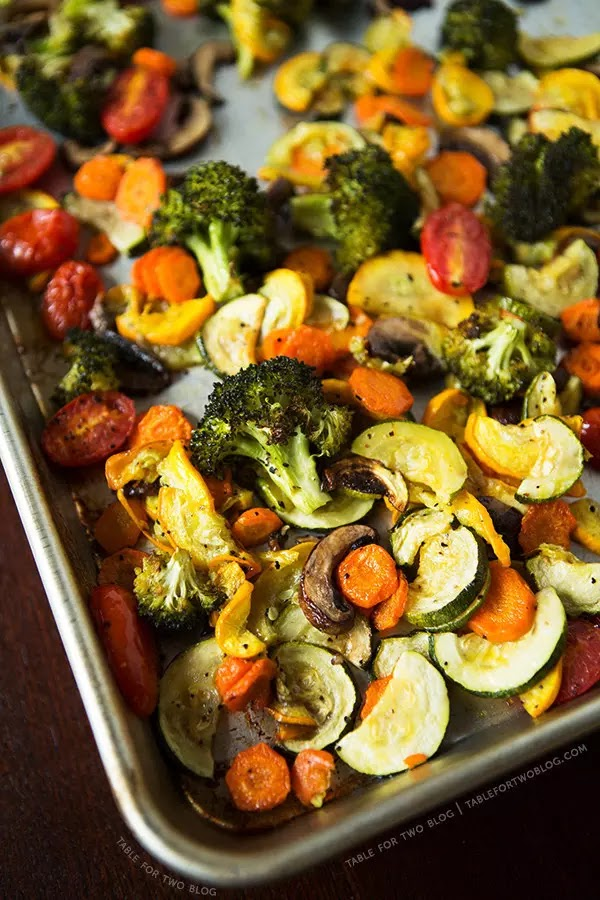 Roasted vegetables are my favorite side dish, EVER.  I swear to you when I say we eat a sheet pan of roasted vegetables every evening.  It's the easiest and best way to get your veggies in.  It's easy because you just pop them in the oven and do other dinner prep for 20 minutes while the vegetables roast.