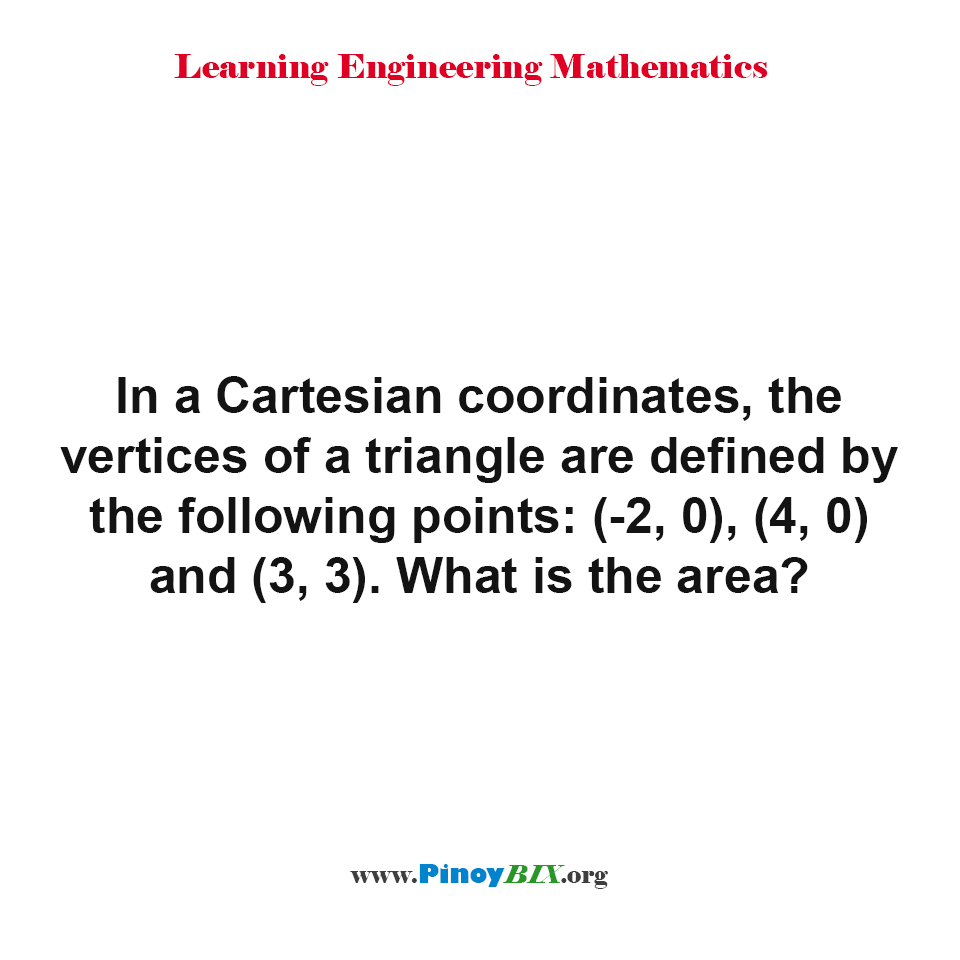What is the area of the triangle given the points of the vertices?