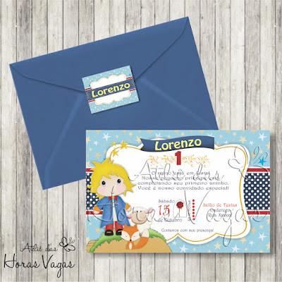 convite aniversário infantil personalizado artesanal festa chá de bebê fraldas o pequeno príncipe azul vermelho menino delicado