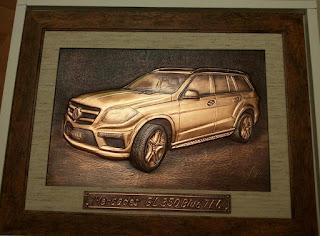 mercedes masina jeep tablou metaloplastie pe tabla de cupru, lucru manual, arta plastica,