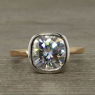 square cushion moissanite ring