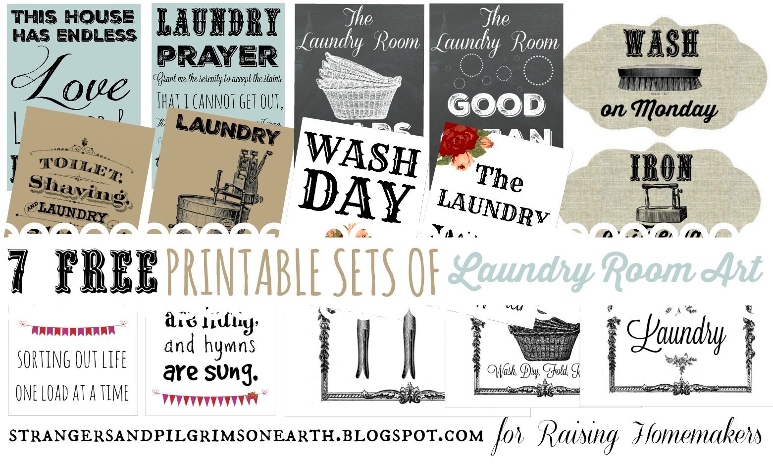 image relating to Printable Sets called 7 Layouts of Laundry Place Artwork ~ Free of charge Printable Sets