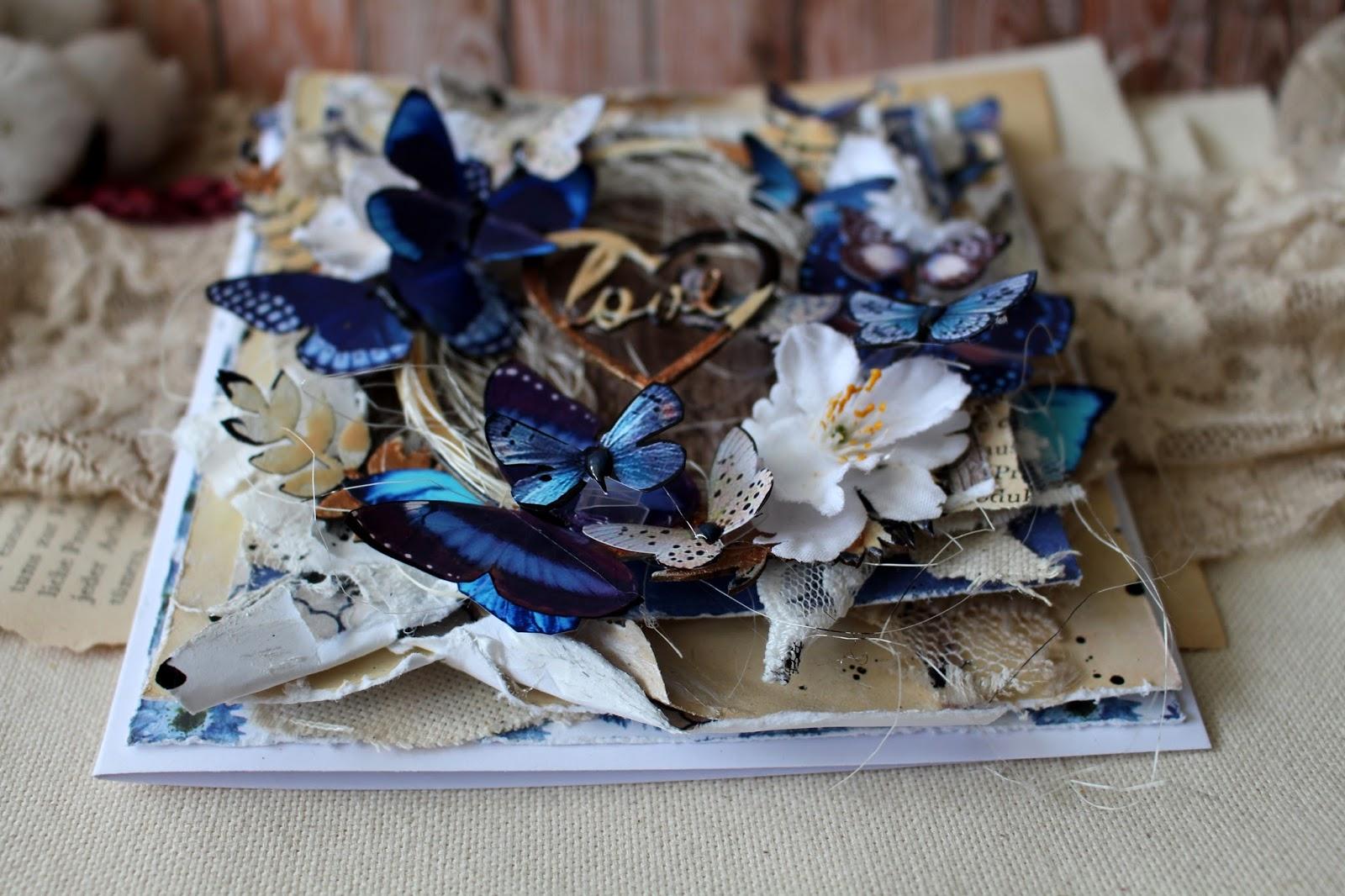 Открытка с бабочками мк