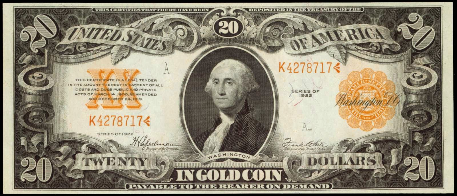 United States Paper Money Twenty Dollar Gold Certificate 1922 George Washington