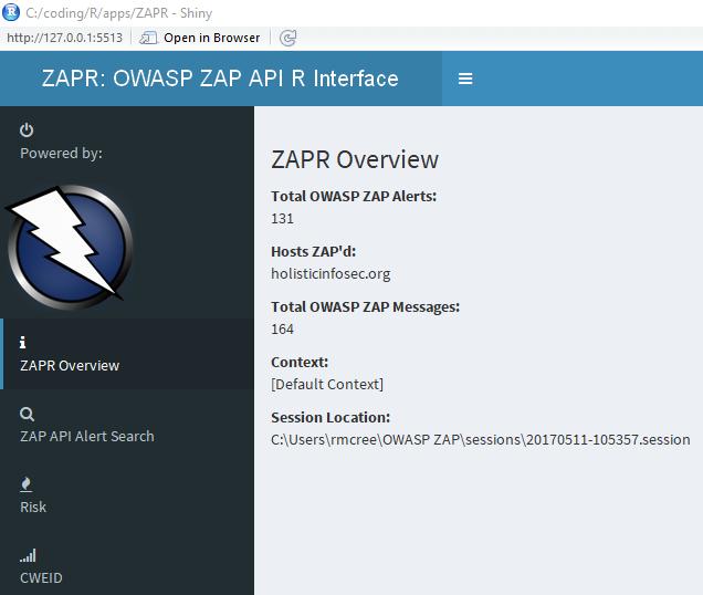 HolisticInfoSec™: Toolsmith #125: ZAPR - OWASP ZAP API R Interface