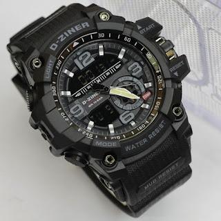 Merk Jam D ziner warna hitam