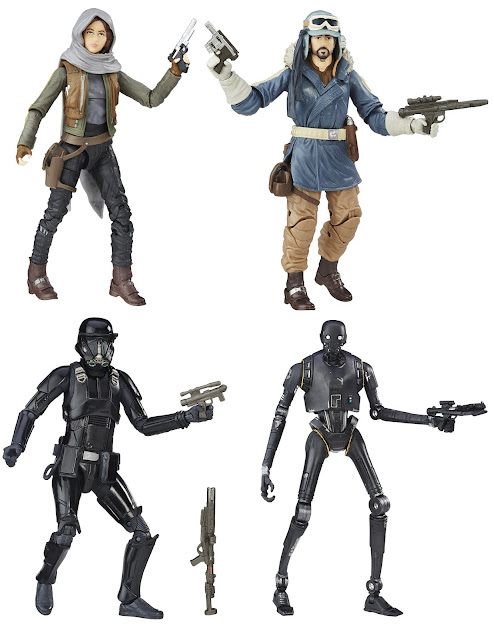 "Star Wars Rogue One The Black Series 6"" Action Figures Wave 1 - ""Jedha"" Sergeant Jyn Erso, ""Eadu"" Captain Cassian Andor, K-2SO & Imperial Death Trooper"