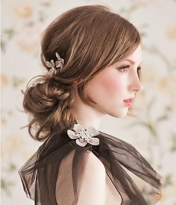 bridesmaid wearing rhinestone brooch