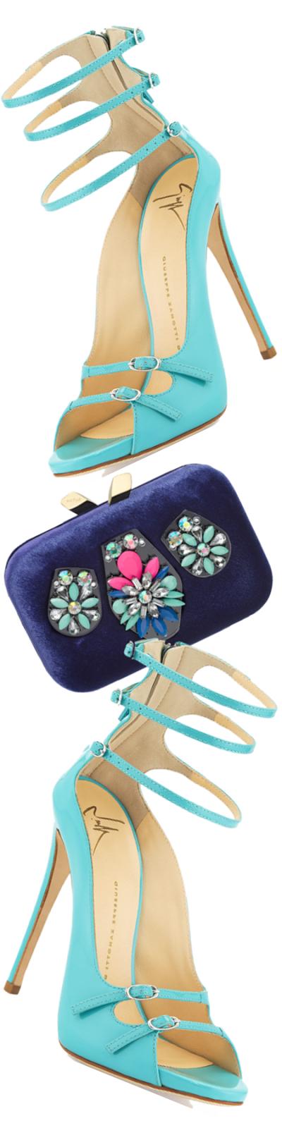Giuseppe Zanotti Strappy Patent Leather Ankle Sandal, Light Blue