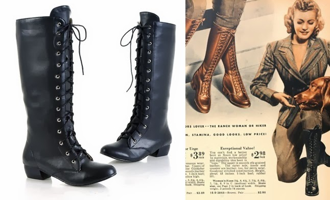 cheap vintage war era 1940s womens lace up knee high boots under $50