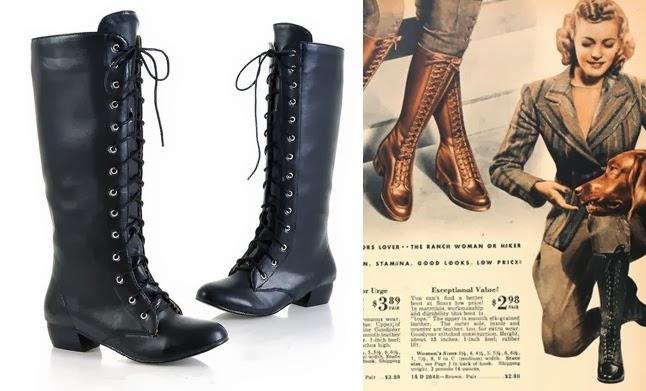 cheap vintage war era 1940s womens lace up knee high boots under $50